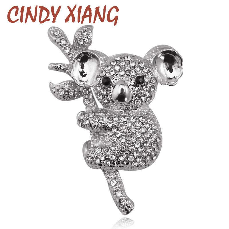 سيندي شيانغ كامل حجر الراين لطيف Koalas الحيوان دبابيس للنساء الحيوان الصدار كل مباراة فستان صيفي مجوهرات الأزياء دبابيس