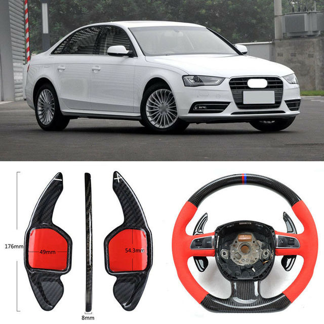 $ 106.21 Carbon Fiber Gear DSG Steering Wheel Paddle Shifter Cover Fit For Audi A4 13-16