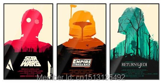3 unids marco sólido 001 Star Wars minimalista película 12 x 16 ...
