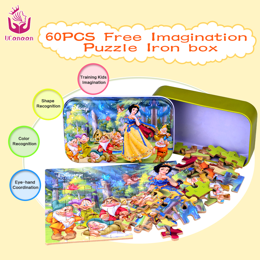 UCanaan 60 pcs/set Wooden Puzzle Cartoon Toy 3D Wood Puzzle Iron Box Package Jigsaw Puzzle for Child Educational Montessori Wood wooden magnetic tangram jigsaw montessori educational toys magnets board number toys wood puzzle jigsaw for children kids w234