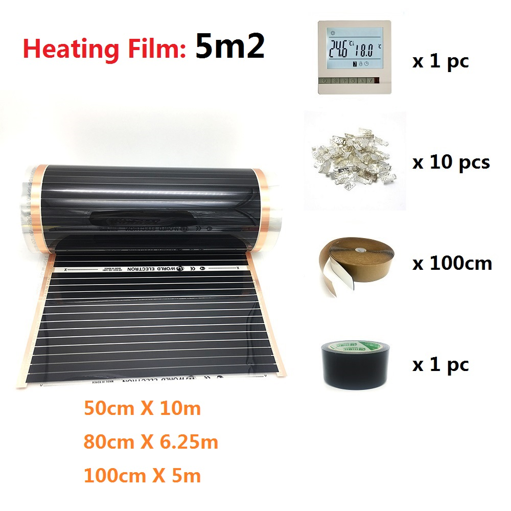 5m2 Far Infrared Carbon Heating Film Underfloor Electric Heating Warm Mat Kit With WiFi Thermostat