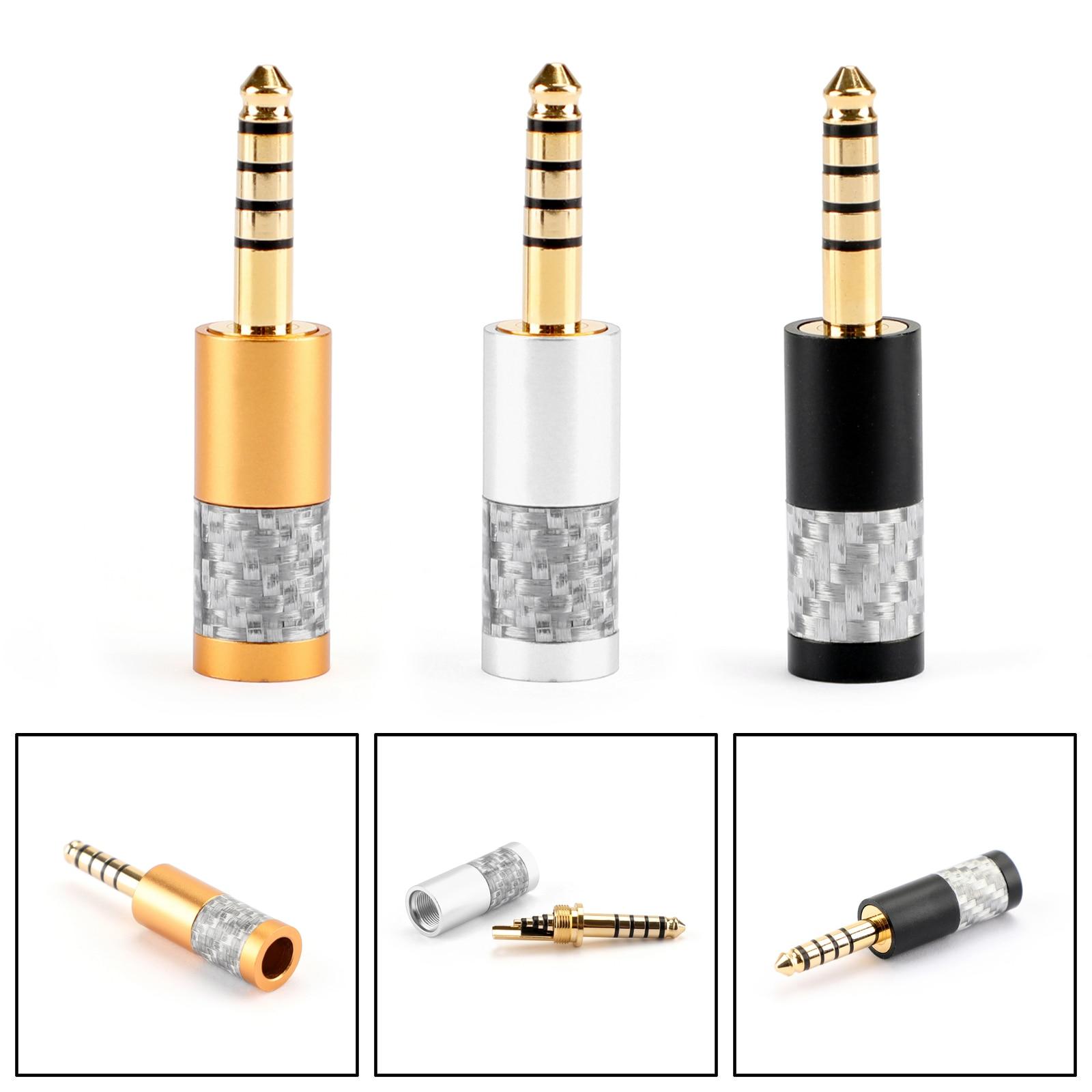 Areyourshop fibra de carbono 4.4mm 5 pólo balance plug conector de áudio para NW WM1Z para NW WM1A plug jack conector|Conectores| |  - title=