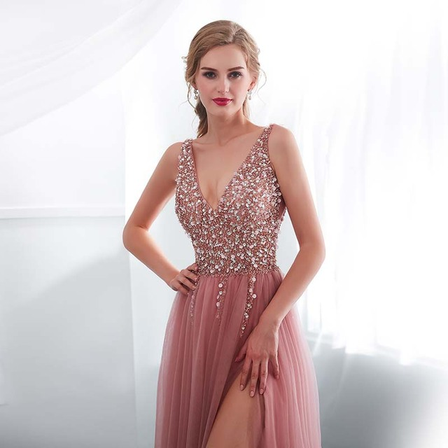Beading Evening Dress 2020 V-Neck Pink High Split Tulle Sweep Train Sleeveless Prom Gown A-line Lace Up Backless Vestido De 4