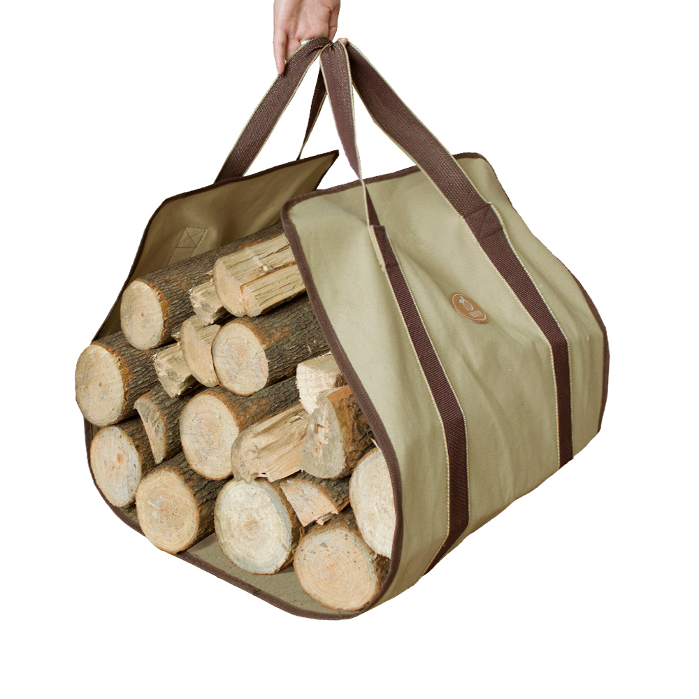 canvas firewood carrier log tote camping outdoor carry bag storage bag package handles bag logging firewood - Firewood Carrier