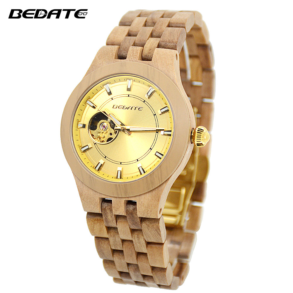 BEDATE Luxurious masculino Natural Wooden Watch For Men Gift For Male With Calendar Display Watches Waterproof Clock Hours 138A