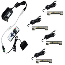 Aiboo LED Under Cabinet Lights for Glass Edge Shelf Back Side Clip Clamp Strip Lighting 4 Lamps with RF Remote and Adapter