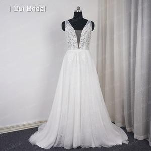 Image 5 - צולל צוואר חתונת שמלות פרל קריסטל חרוזים תחרה כלה שמלת מפעל תפור לפי מידה תמונה אמיתית