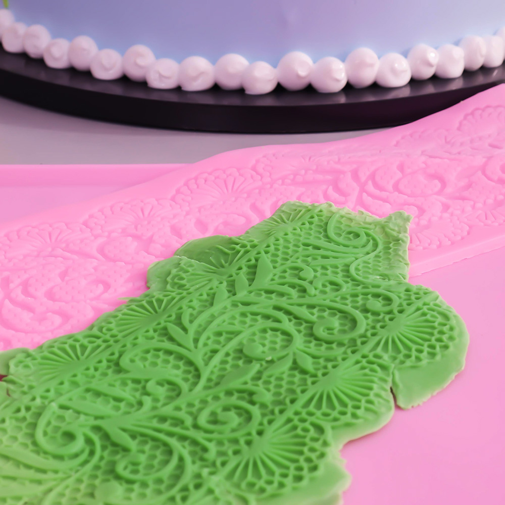 Hot Silicone Flower Lace Impression Mold Cake Decor Bake Emboss Mat Mould Craft