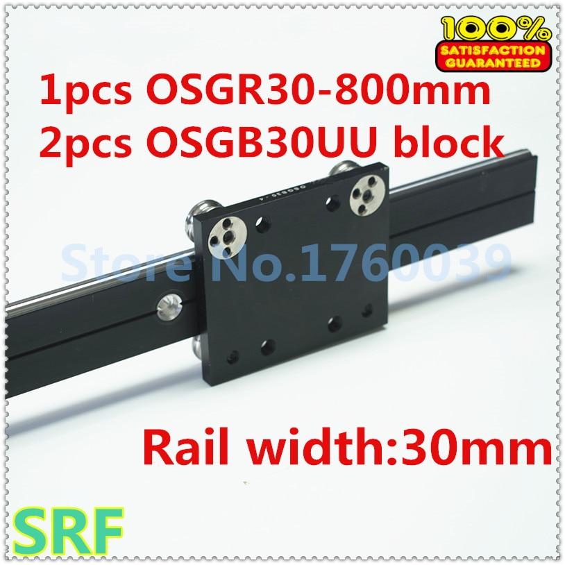 30mm width Aluminum roller linear guide rail external dual axis linear guide 1pcs OSGR30 L=700mm+2pcs OSGB30UU block belt driven mechanical linear unit with external roller guides positioning system