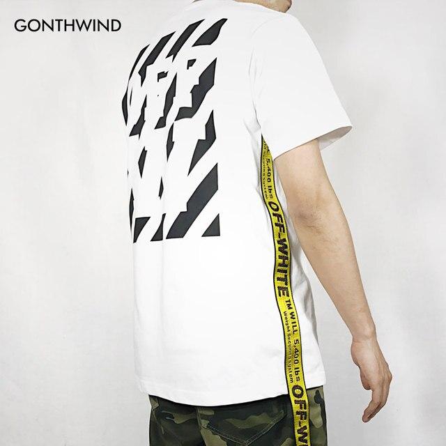 e81a5a07d67f 2017 Side Gold Belt T Shirts Mens Summer Abloh Virgil Strap T-Shirt Kanye  West Striped Printed Tops Tees Hip Hop T-Shirt