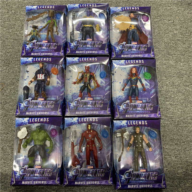 LED Thanos Black Panther bambini Capitan America Thor Iron Man Spiderman Hulk Avengers action Figure giocattoli Modello Doll Regalo Dei Capretti