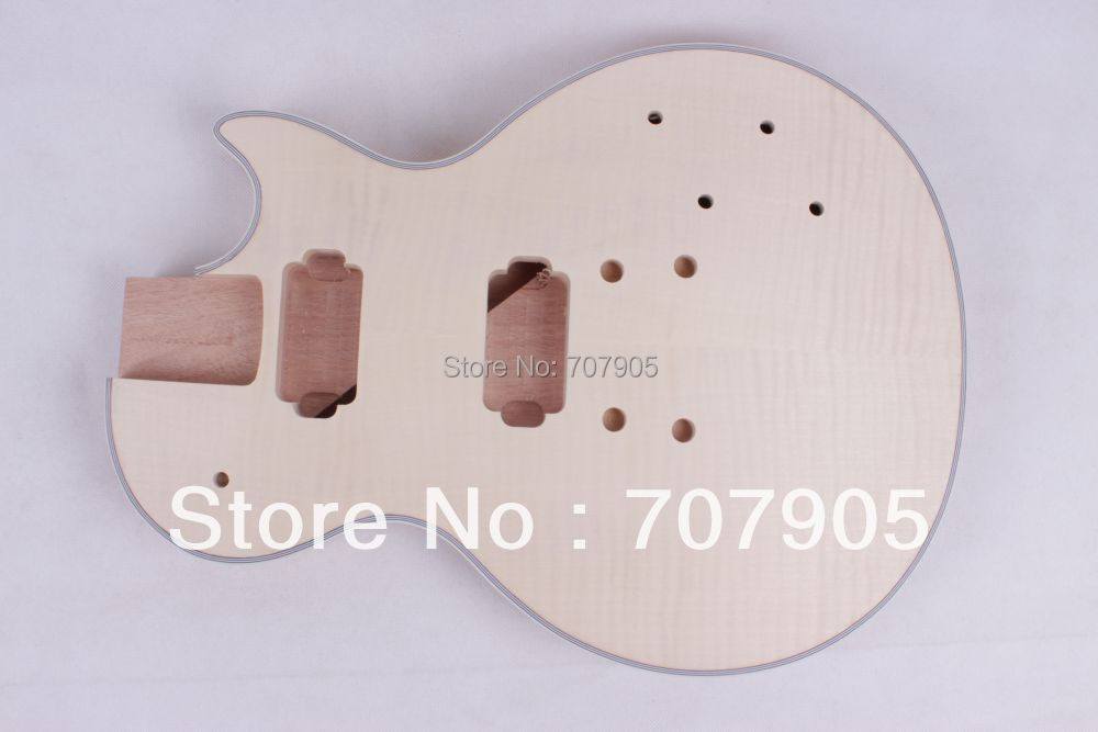 Electric guitar body Mahogany Bolt on flame maple veneer top fine quality diy electric bass guitar kit bolt on solid mahogany body canadian maple neck mx 036
