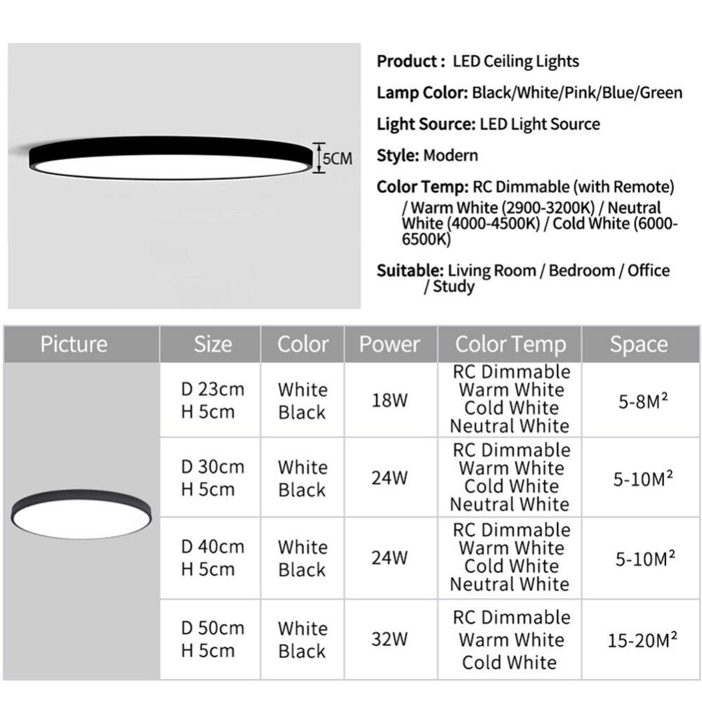 LED Ceiling Light Lamp Modern Lighting Fixture Bedroom Kitchen Foyer Simple Surface Mount Flush Panel Living LED Ceiling Light Lamp Modern Lighting Fixture Bedroom Kitchen Foyer Simple Surface Mount Flush Panel Living Room Remote Control