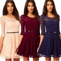 2016 New Candy Color Elegant Lace Dress For Women Designer Brand Women Dresses Plus Size Fashion
