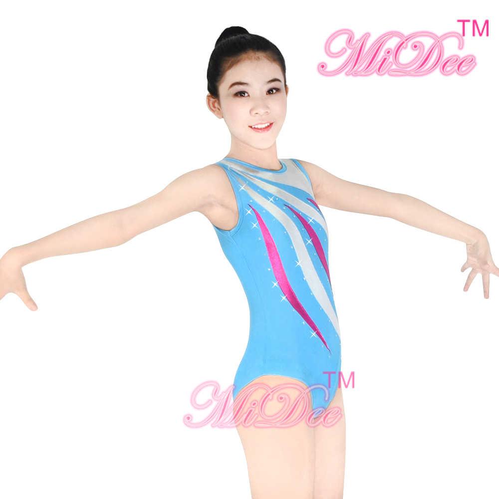 MiDee Gym Berenang Kompetisi Senam Tari Triko Kostum Pakaian Tari Modern Kostum Untuk Penjualan