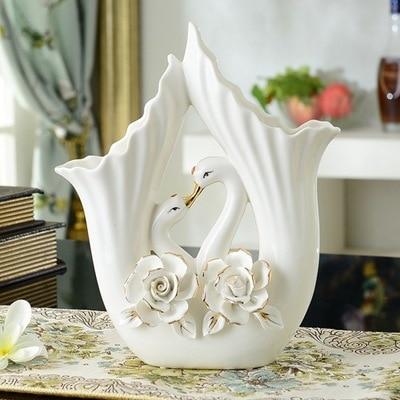 Modern Ceramic Flower Vase Home Furnishing Decorative Ornaments Hand Color Flower Swan Vase Wedding Gifts Birthday Celebration