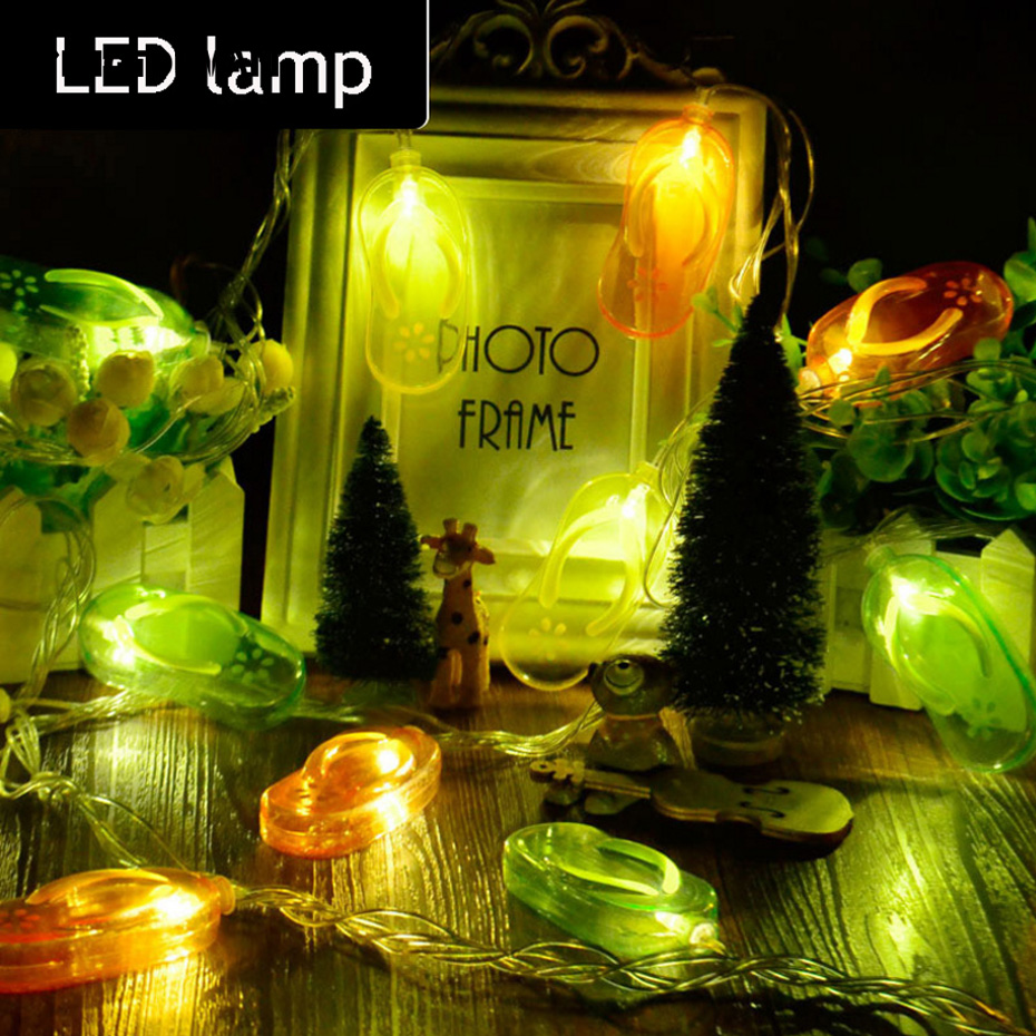 YINGTOUMAN NEW Cute Slippers USB Type Lamp LED String Light Christmas Holiday Wedding Party Decoration Lighting 4m 20LED