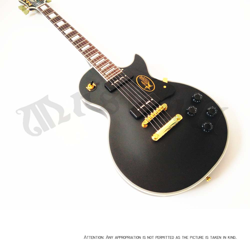 Best price free delivery-lp custom guitar p90 pickups mattle black custom lp electric guitar