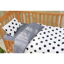 3Pcs Baby Bedding Set Cotton Crib Sets Black White Stripe Cr