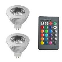 Mr16 rgb lâmpada led para férias, dc 12v rgb holofote de alta potência 16 cores ir remoto lâmpada