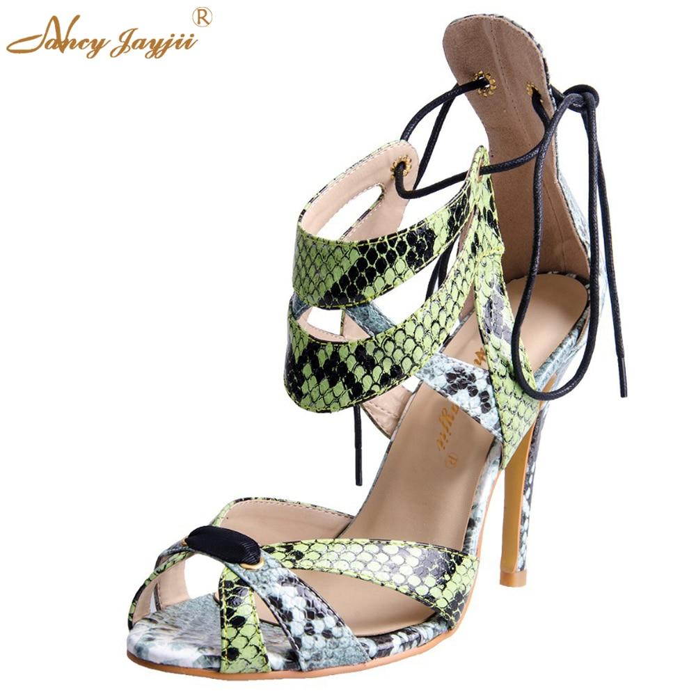 ФОТО Nancyjayjii Fashion Women Green Peep Toe High Heel Lace-up Sandals Snakeskin Summer Dress Party Show Field  Shoes plus size 5-16