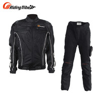 Riding tribe 여름 통기성 오토바이 키트 보호 재킷 + 바지 오토바이 승마 정장 모터 재킷 및 바지