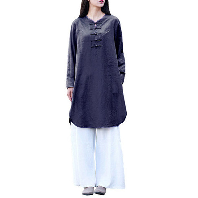 Plus Size 5XL Womens Tops and Blouses 2018 Harajuku Linen Vintage Long Sleeve Long Shirts Tunic Ladies Top Woman Clothes  5