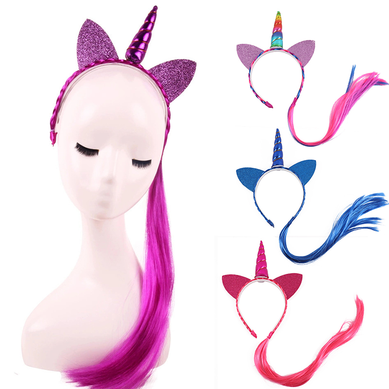 10pcs/lot Rainbow Color Ponytail Unicorn Headbands Glitter Ears Kids Girls Princess Braid Wig Hairbands Hair Accessories