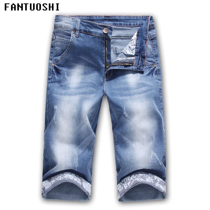 Hot Sale 2018 Summer New Casual solid Slim Cotton   Shorts   Men Jeans Blue   Shorts   fashion Male Denim Brand Clothing Plus Size 36