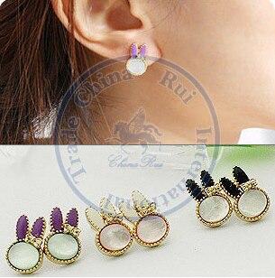 Stud Earrings ear rings Fashion for women Girls lady cute animal long ear bowknot desgin CN post