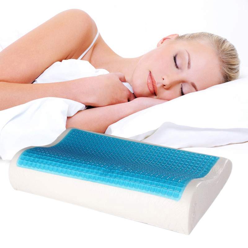New Design Memory Foam Orthopedic Sleep Blue Cooling Comfort Gel Bed Pillow Cushion Free Shipping 38