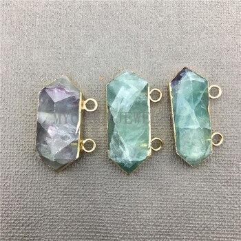 MY0619, Conector de punta de columna de fluorita verde púrpura con fianza de doble Color dorado, Flat Fluorspar Druzy Slice pendiente dije de piedra