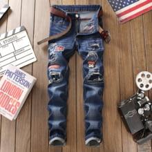 цены на 2019 New hole jeans men fashion casual blue denim distressed straight trousers homme jeans plus size 38 patchwork hip hop pants  в интернет-магазинах