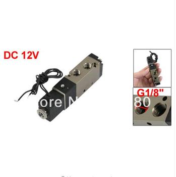 4V110-06 DC 12V G1/8 Inlet Five 5 Way Two 2 Position Single Head Type Pneumatic Air Gas Solenoid Valve Wholesale Retail g1 2 in g1 4 out 8 way pneumatic air solid aluminum manifold block splitter