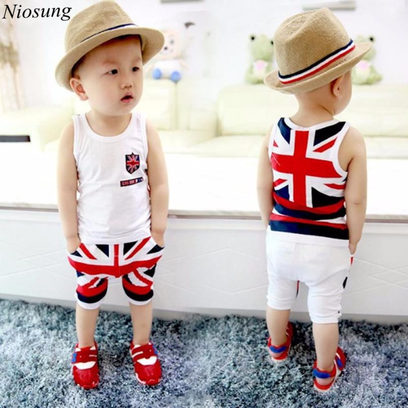 Niosung New Fashion Kids Baby Boys Union Jack Outfits sleeveless Vest Tops Pants Set Clothes Children Gift v ...