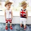 Niosung Nova Moda Do Bebê dos Miúdos Meninos Union Jack Calças Conjunto de Roupas sem mangas Colete Encabeça Roupas Crianças Presente v