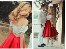 Sexy Off-Shoulder Lace evening Bodice With A Line Tea Length Red Satin Skirt 2 Piece Prom Dresses 2015 Special Occasion Dresses 2 piece 2 2015