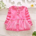 Spring Autumn Girls Lace Bow Beaded Long Sleeved Jackets Cardigan Baby Kids Coat Children Princess Outwear Coats S3608