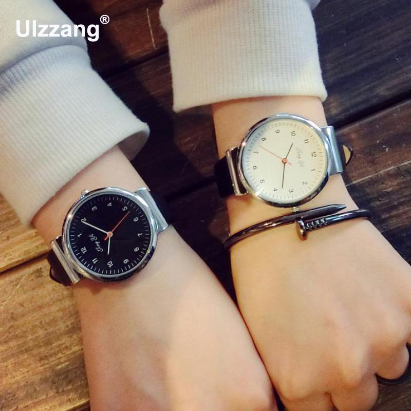 Classic Silver Stainless Steel Shell PU Leather Japan Movt Quartz Dress Wrist Watch Wristwatches for Men Male Women