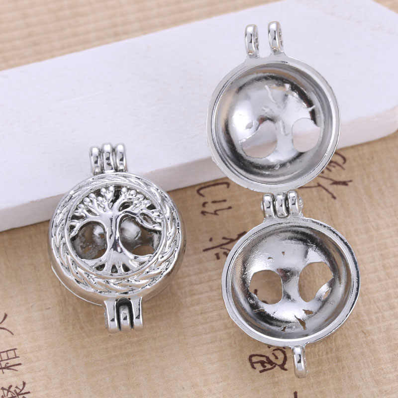 6pcs Bright Silver Life Tree Hollow Design Jewelry Making Supplies Alloy Trendy Pearl Cage Locket Pendant Essential Oil Diffuser