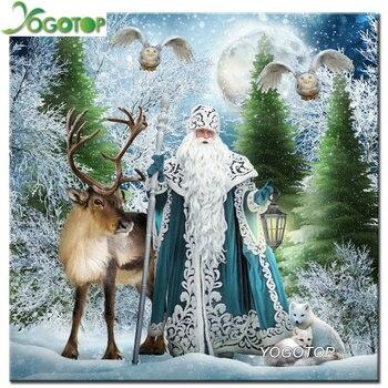 Yogotop Noel Baba Ve Geyik Elmas Nakış Diy Elmas Boyama çapraz Dikiş