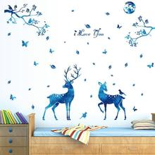 Фотография Nordic 3D blue star deer wall stickers living room bedroom Interior home decors For Kids Room Mural Removable Vinyl Wall Decals3