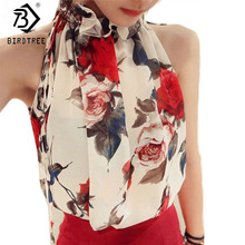 New Fashion Women Sleeveless Chiffon Floral Print Blouses Ruffles Turtleneck Tops Shirt Vest Design Loose Brand