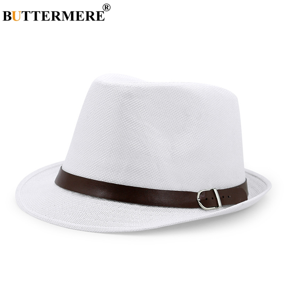 b89ed385760 BUTTERMERE Mens Panama Hat Linen Navy Blue Hawaiian Summer Beach Sun Hat  Lady Casual Designer Straw Fedora Hats Brand-in Sun Hats from Apparel  Accessories ...