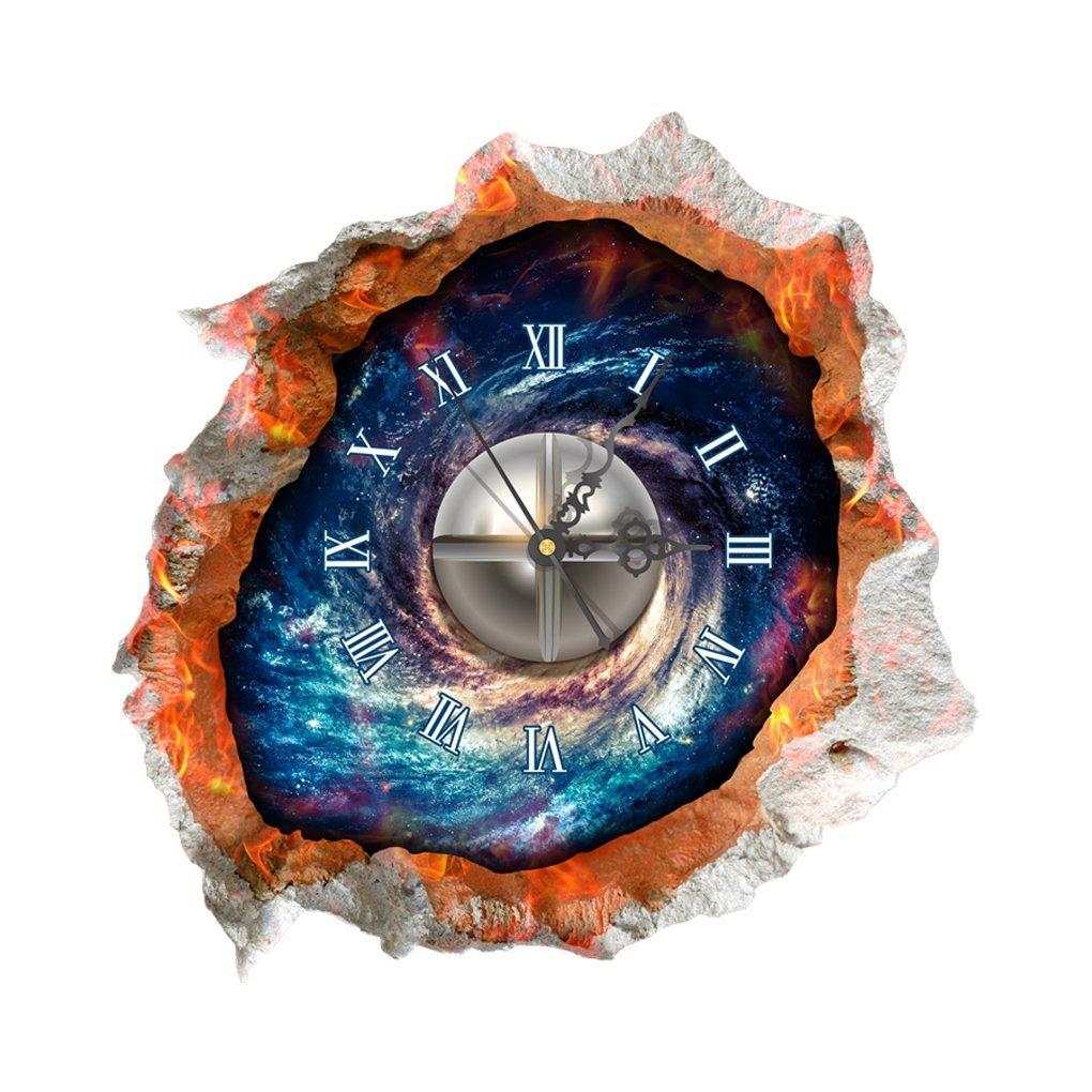 DIY 3D Art Wall Clock Decals Starry Sky Wall Hole Clock Sticker Office Home Wall Decor Gift 15x15 diy wall clock