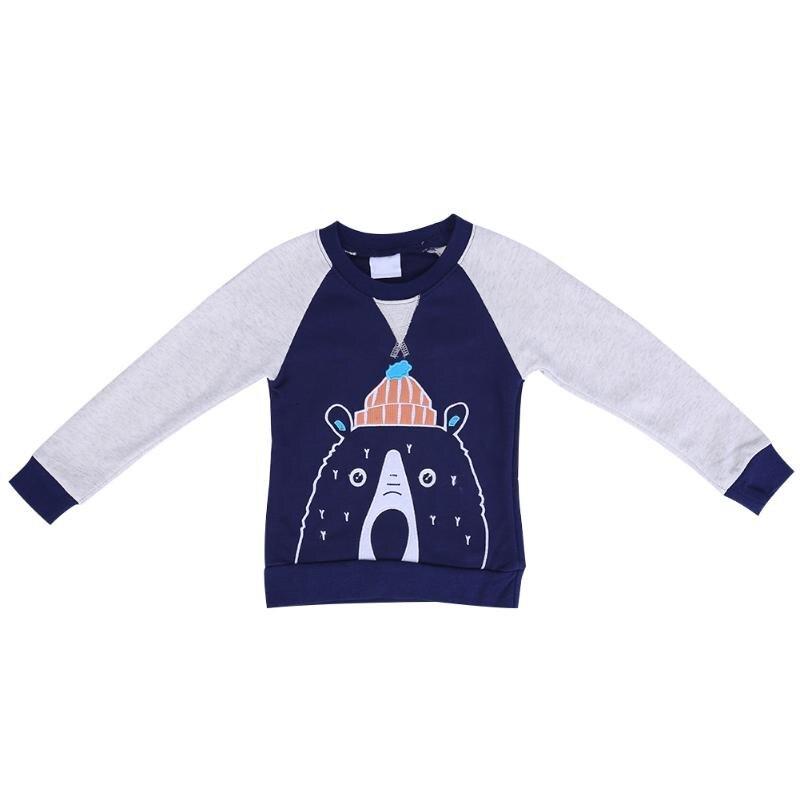 Autumn Children Boy Sweatershirts Kids Cartoon Bear Pattern Tops Long Sleeve Winter Warm Cotton Costume