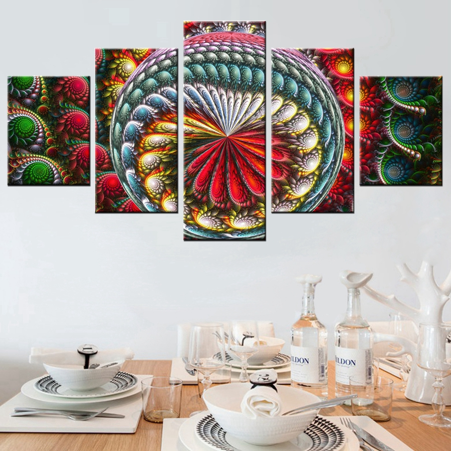 3d peacock decorative pattern colorful painting canvas for Colorful wall decor