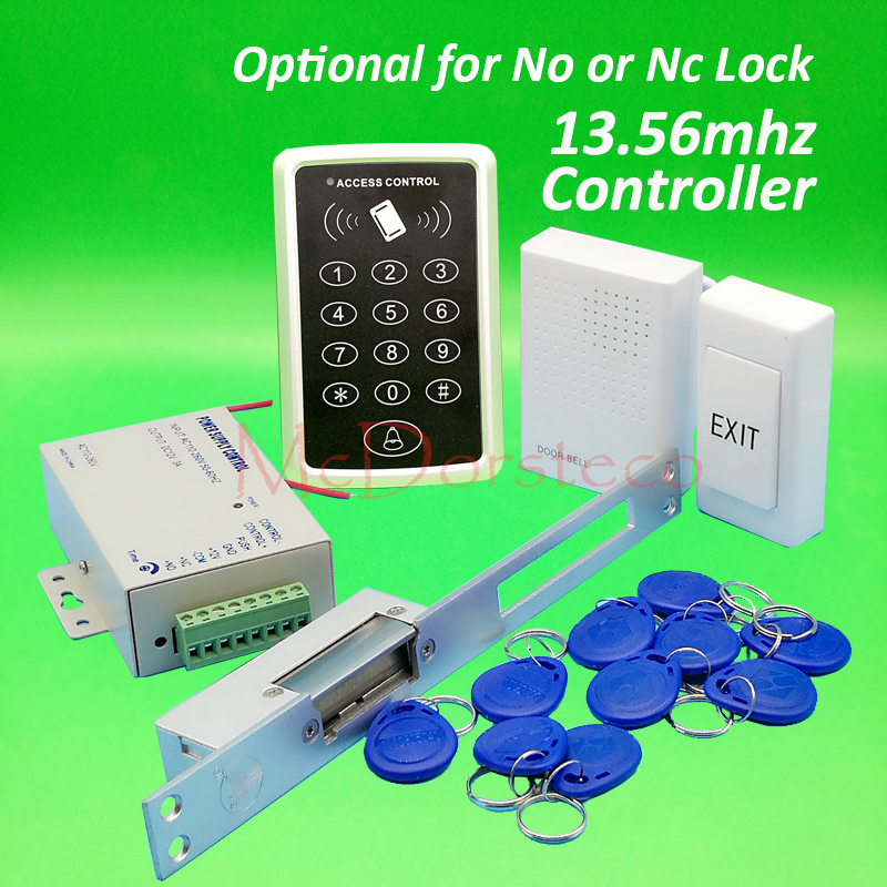 DIY 13.56mhz IC M1 Card Door Access Control kit Full Door Access Kit Yli Long type YS130 No Nc electric strike lock+Power Supply бесплатная доставка diy kit электронные производство lm2902nsr ic операционные усилители gp 1 2 мгц quad 14sop 2902 lm2902 20 шт