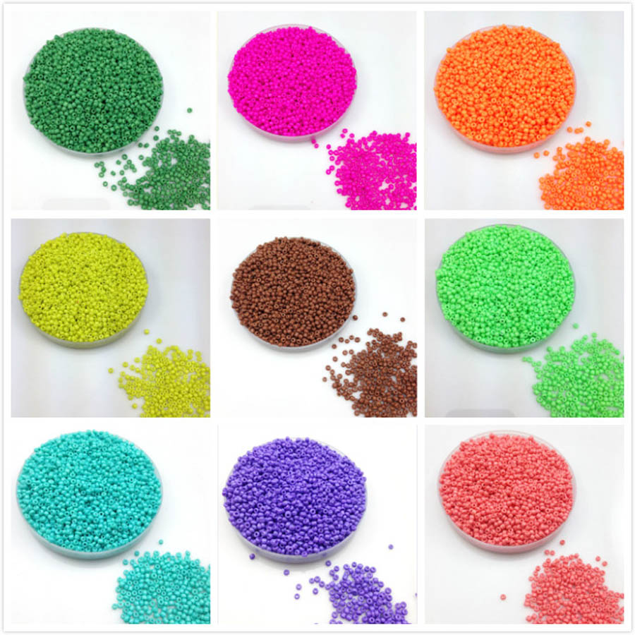 16g 1000pcs 2mm Solid Neon Colored Round Garment Beads Loose Spacer Cezch Glass Seed Beads Handmade Jewelry DIY Making Bead LS2M in Garment Beads from Home Garden