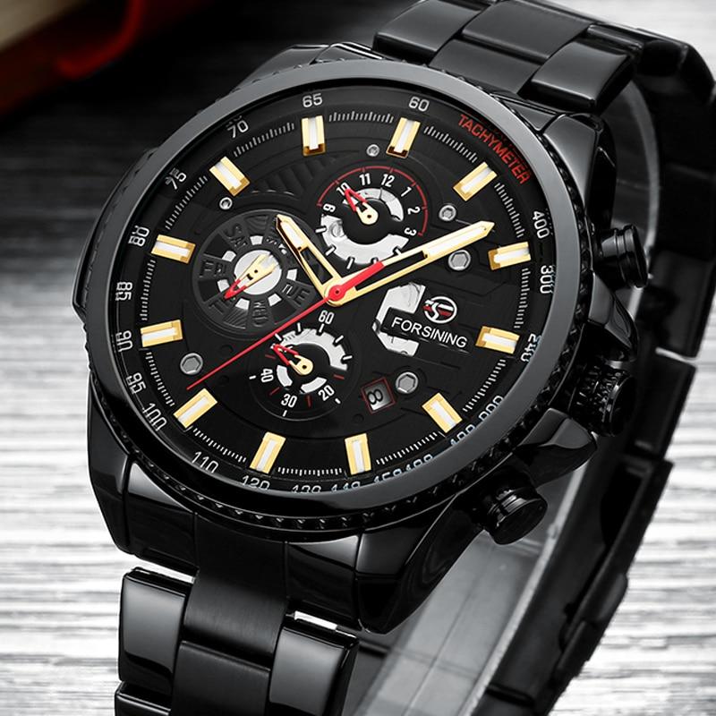 ใหม่ 2019 นาฬิกากลไกอัตโนมัตินาฬิกาผู้ชายหรูหรายี่ห้อ Mens นาฬิกา Moon phase นาฬิกาข้อมือสีดำกันน้ำ relogio masculino-ใน นาฬิกาข้อมือกลไก จาก นาฬิกาข้อมือ บน AliExpress - 11.11_สิบเอ็ด สิบเอ็ดวันคนโสด 1